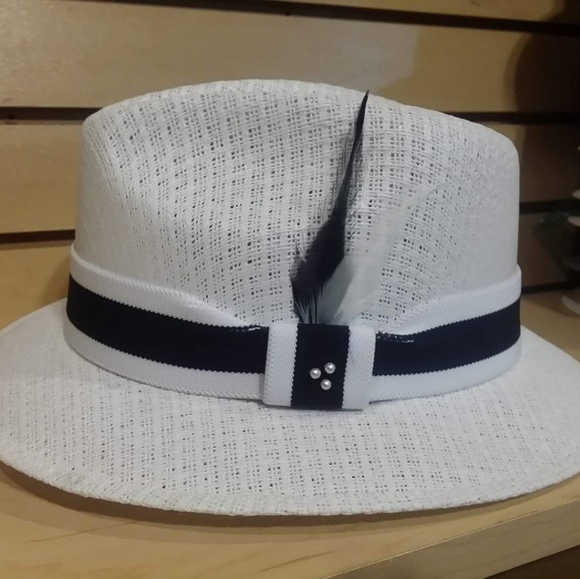 Multicolor Band on a White Pachuco Fedora Lowrider 3418056d4d7